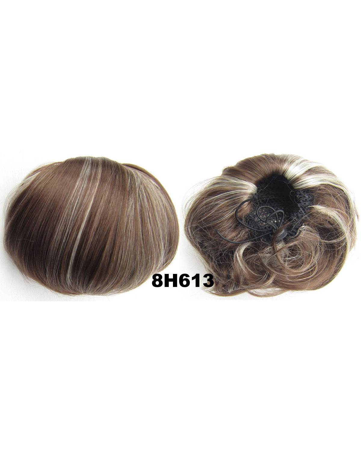 Ladies Modernish Straight Short Hair Buns Drawstring Synthetic Hair Extension Bride Scrunchies8H613