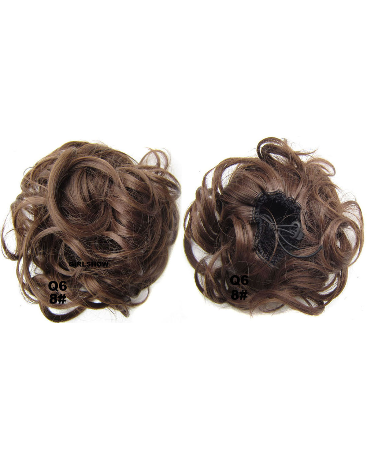 Ladies Newly and High Quality Curly and Short Hair Buns Drawstring Synthetic Hair Extension Bride Scrunchies  8#