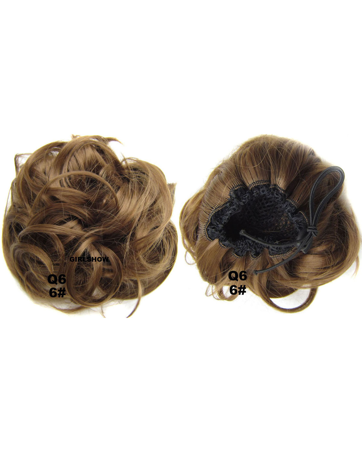 Ladies Newly and Popular Curly and Short Hair Buns Drawstring Synthetic Hair Extension Bride Scrunchies 6#