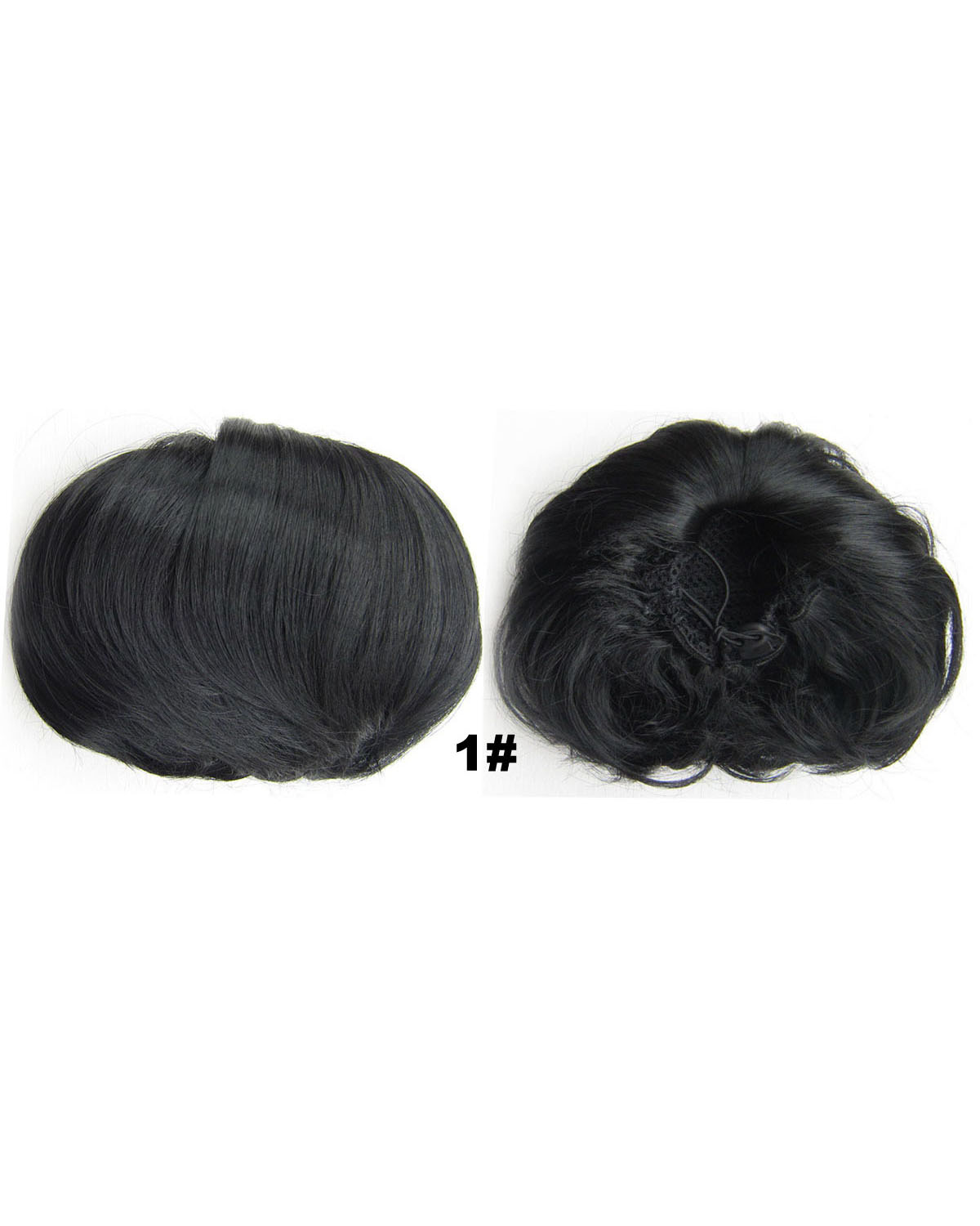 Ladies Salable Straight Short Hair Buns Drawstring Synthetic Hair Extension Bride Scrunchies 1#