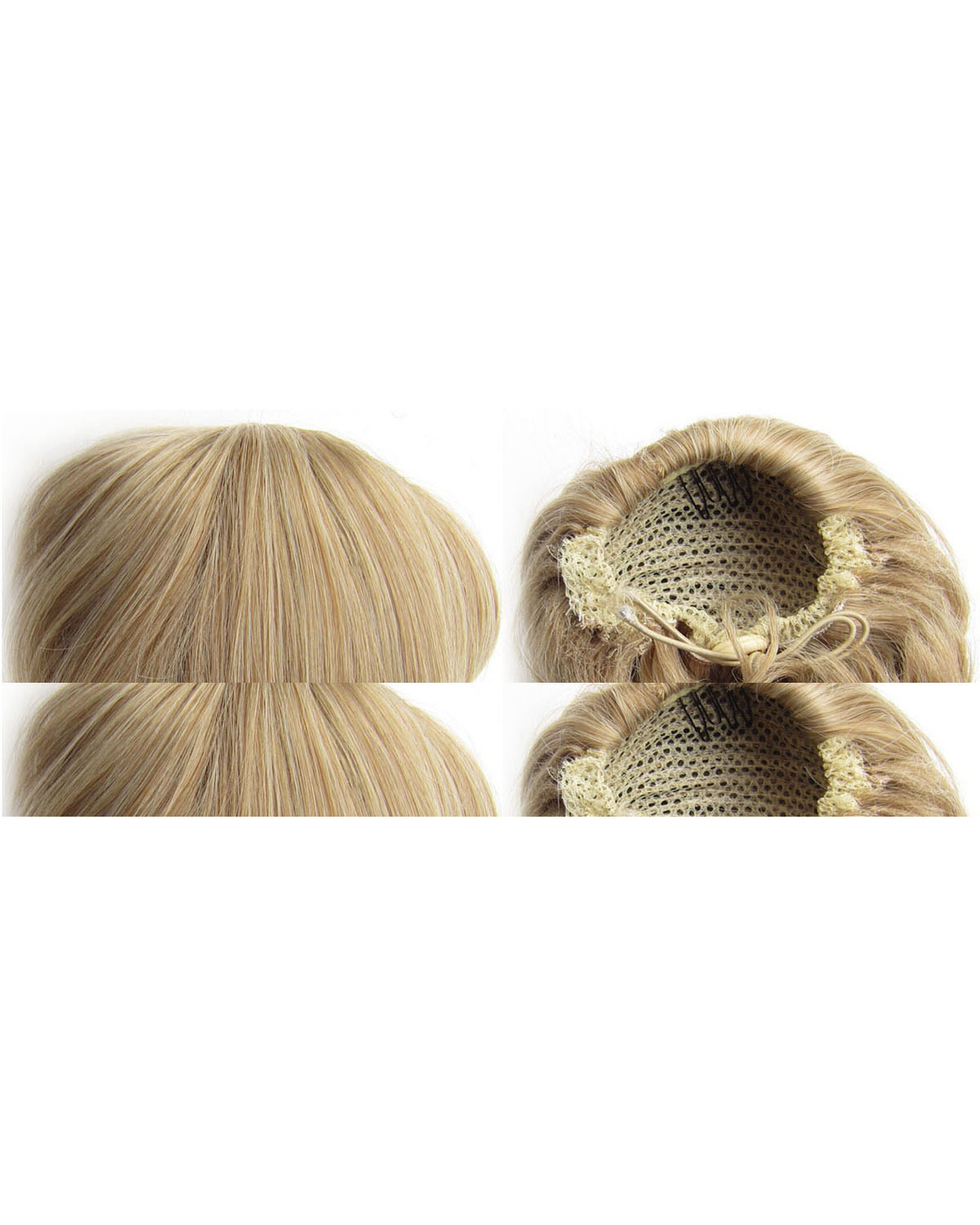 Ladies Shining Straight Short Hair Buns Drawstring Synthetic Hair Extension Bride ScrunchiesM27/613