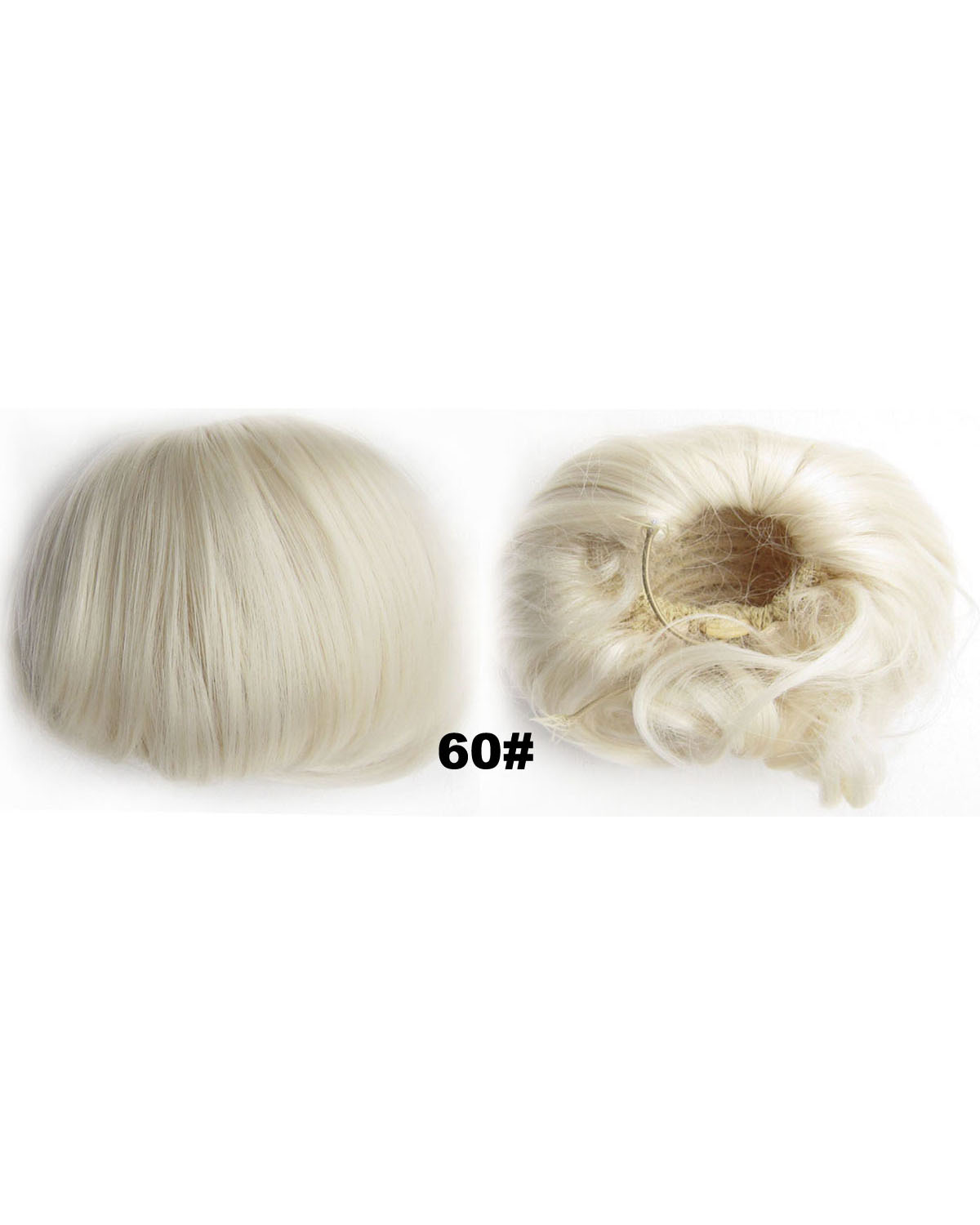 Ladies Smooth Straight Short Hair Buns Drawstring Synthetic Hair Extension Bride Scrunchies  60#