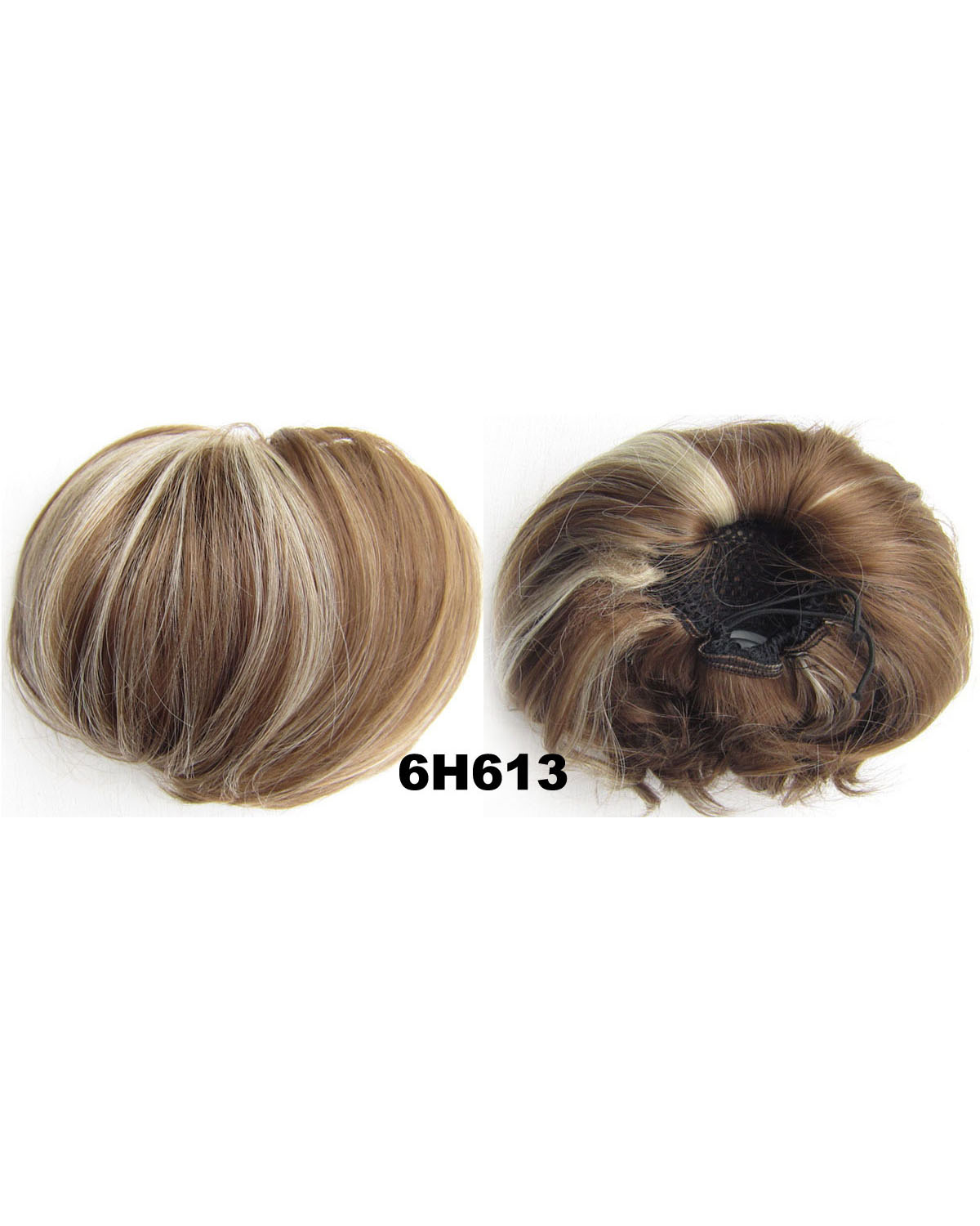 Ladies Thick Straight Short Hair Buns Drawstring Synthetic Hair Extension Bride Scrunchies  6H613