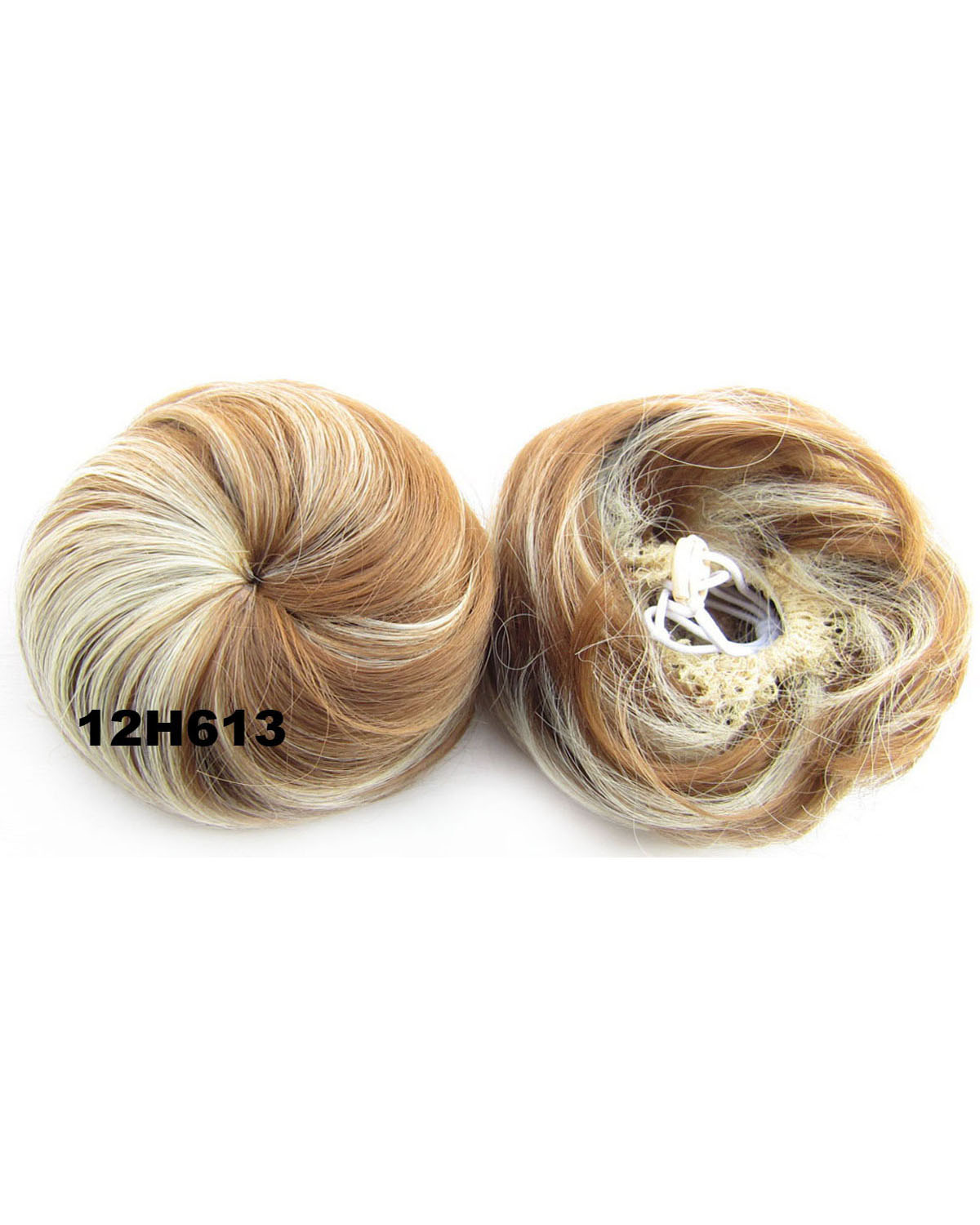 Ladies Trendy Straight Short Hair Buns Drawstring Synthetic Hair Extension Bride Scrunchies 12H613