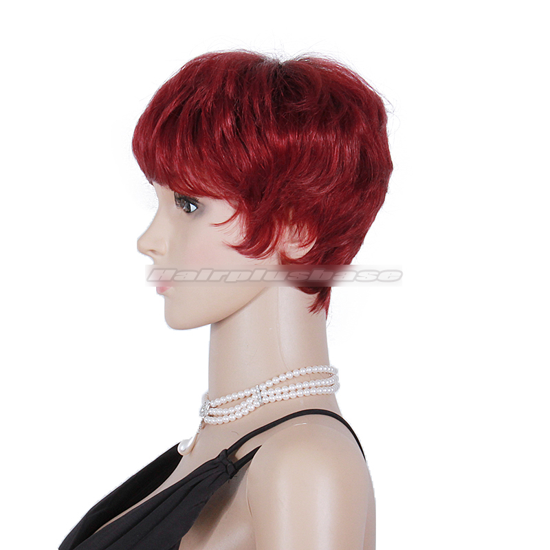 Layered Short Red Hairstyle For Black Women Human Hair Glueless Wigs