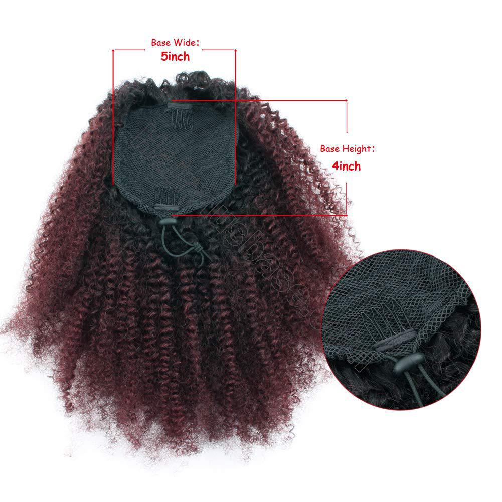 10 - 30 Inch Ombre Kinky Curly Human Hair Ponytail Drawstring Clip Ponytail Extensions #1B/Dark 99J no 2