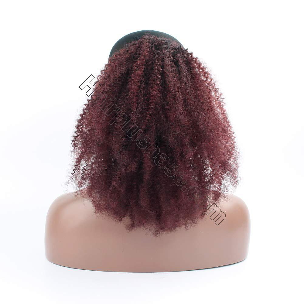 10 - 30 Inch Ombre Kinky Curly Human Hair Ponytail Drawstring Clip Ponytail Extensions #1B/Dark 99J no 3