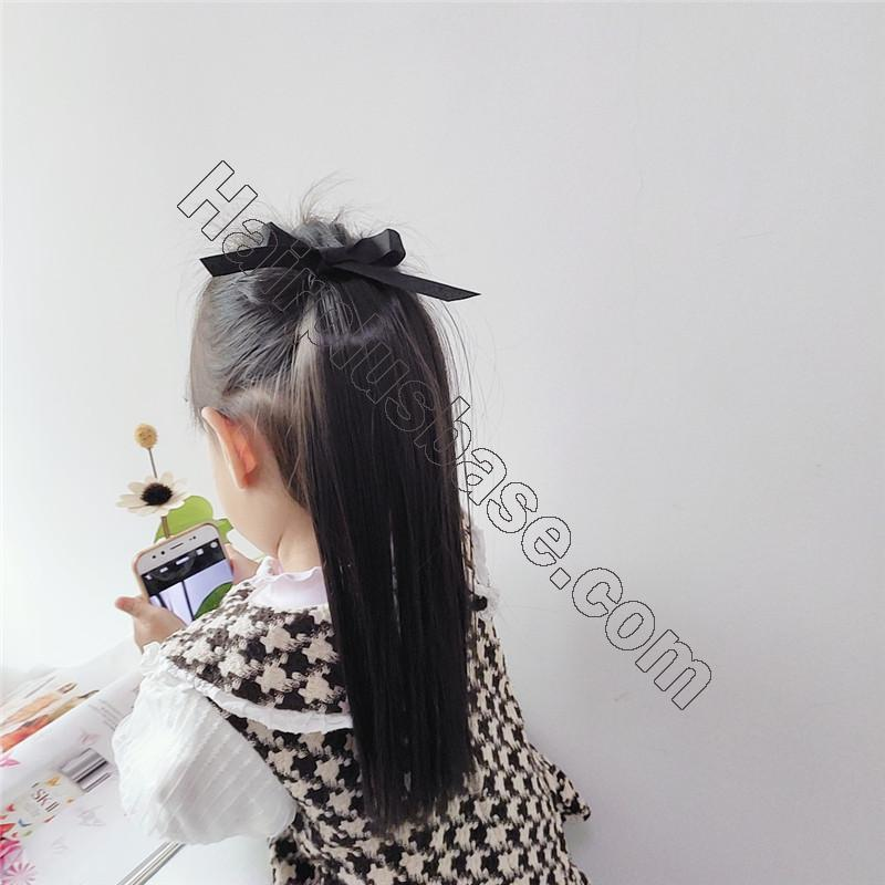 Little Girl Lace/Ribbon Ponytail Extension Human Hair 4