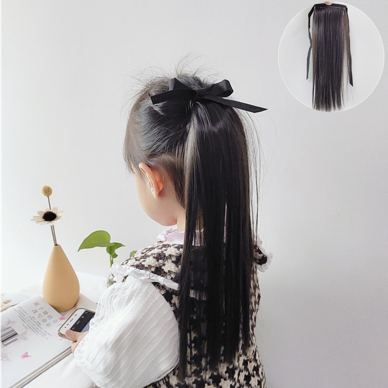 Little Girl Lace/Ribbon Ponytail Extension Human Hair 7
