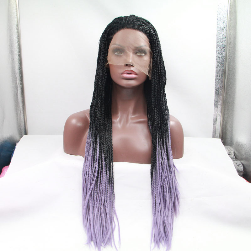 Long Black Mixed Purple Braided Straight Lace Front Wig