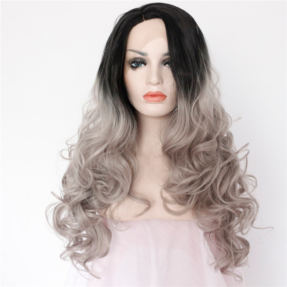 Long Body Wavy Ombre Grey Synthetic Lace Front Wigs