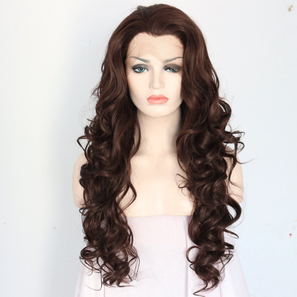Long Brown Wavy Synthetic Lace Front Wigs