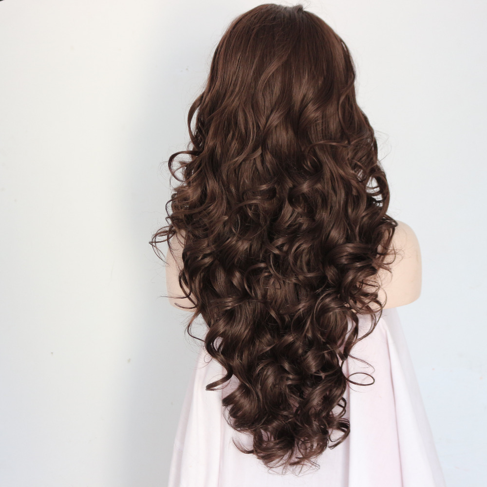 Long Brown Wavy Synthetic Lace Front Wigs 1