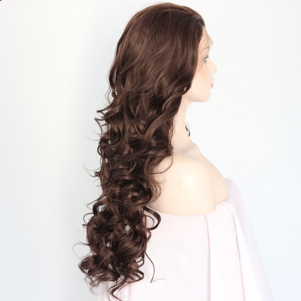 Long Brown Wavy Synthetic Lace Front Wigs 2