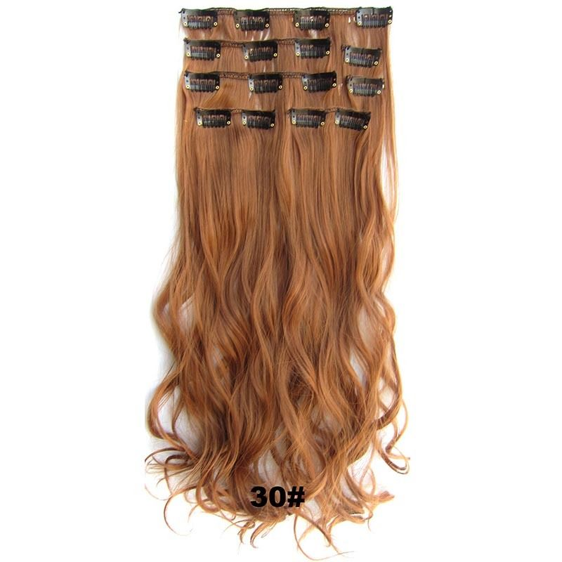Long Clip Inon Hair Extension Synthetic Hairpiece Body Wavy