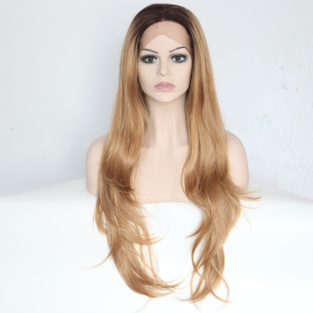 Long Dark Roots Blonde Nature Wave Lace Front Wigs