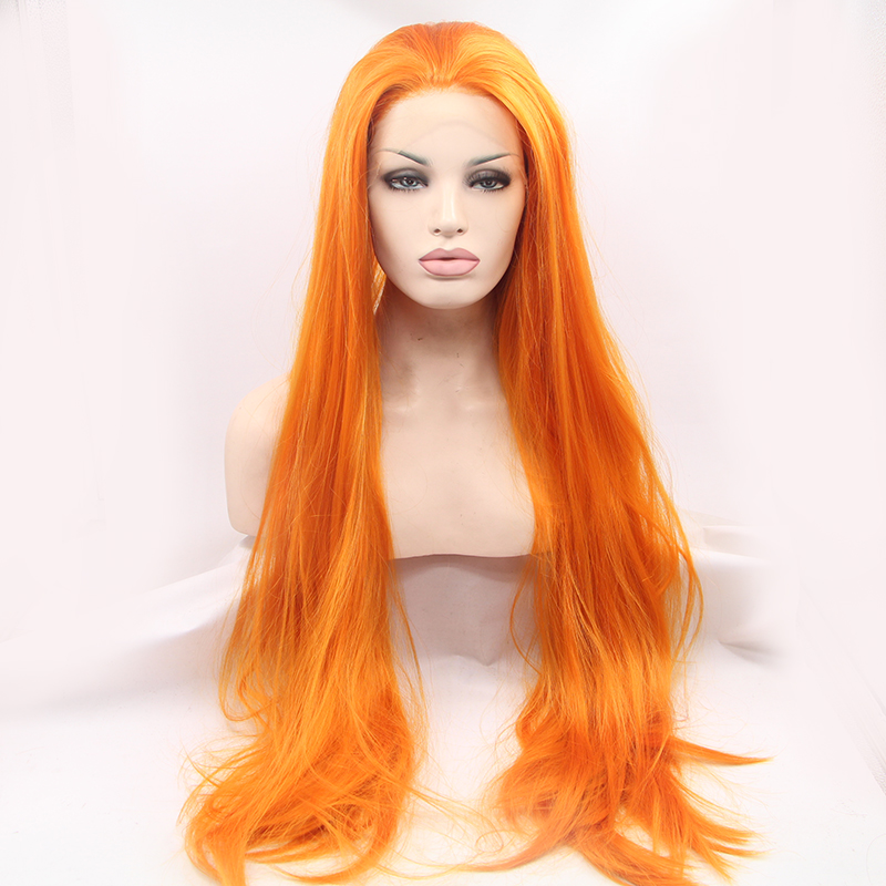 Long Hair Fashion Seamless Orange Synthetic Lace Front Wigs