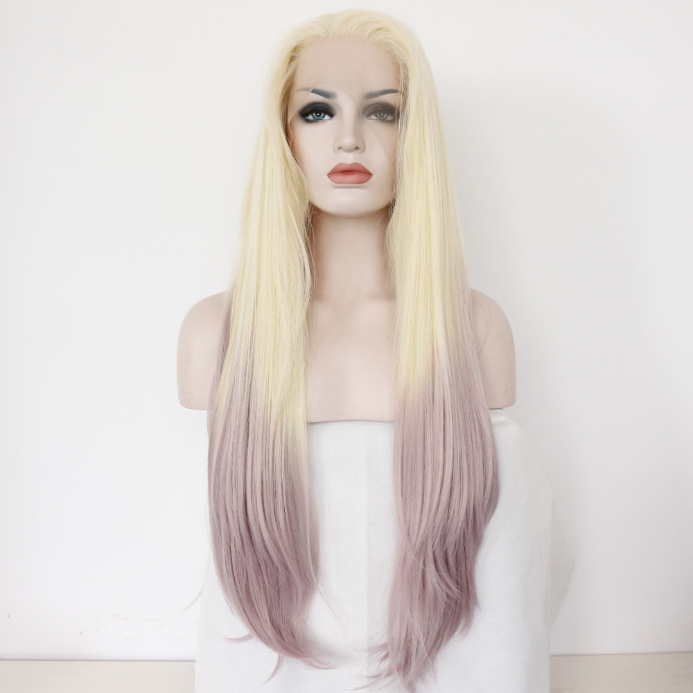 Long Ombre Blonde Silk Straight Glueless Synthetic Lace Front Wig