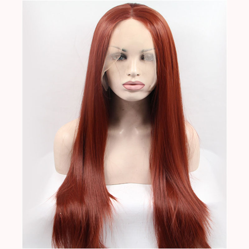 Long Ombre Brown Silk Straight Synthetic Lace Front Wigs
