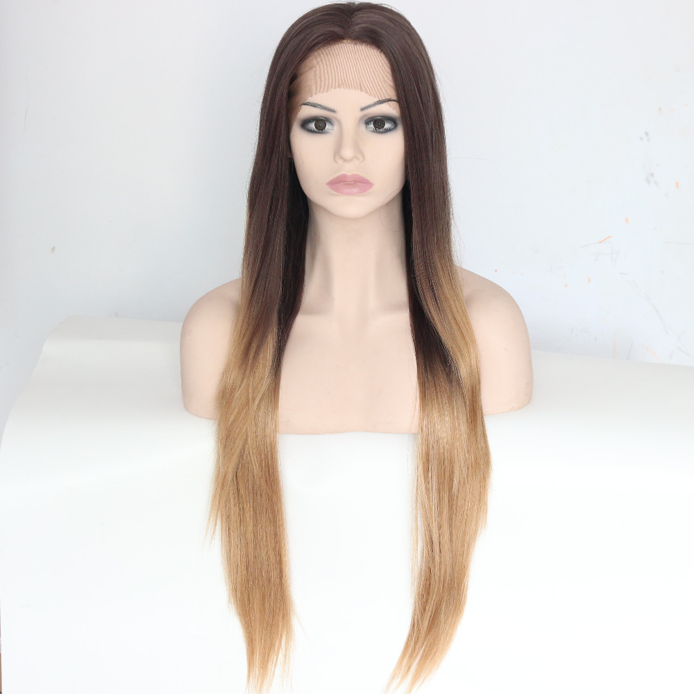 Long Straight Brown Ombre Lace Front Wigs