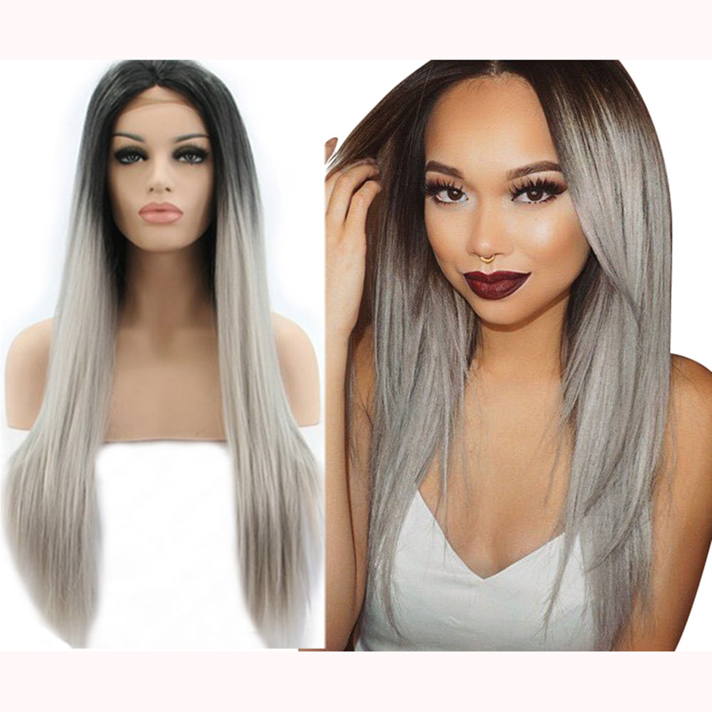Long Straight Grey Ombre Lace Front Synthetic Wigs
