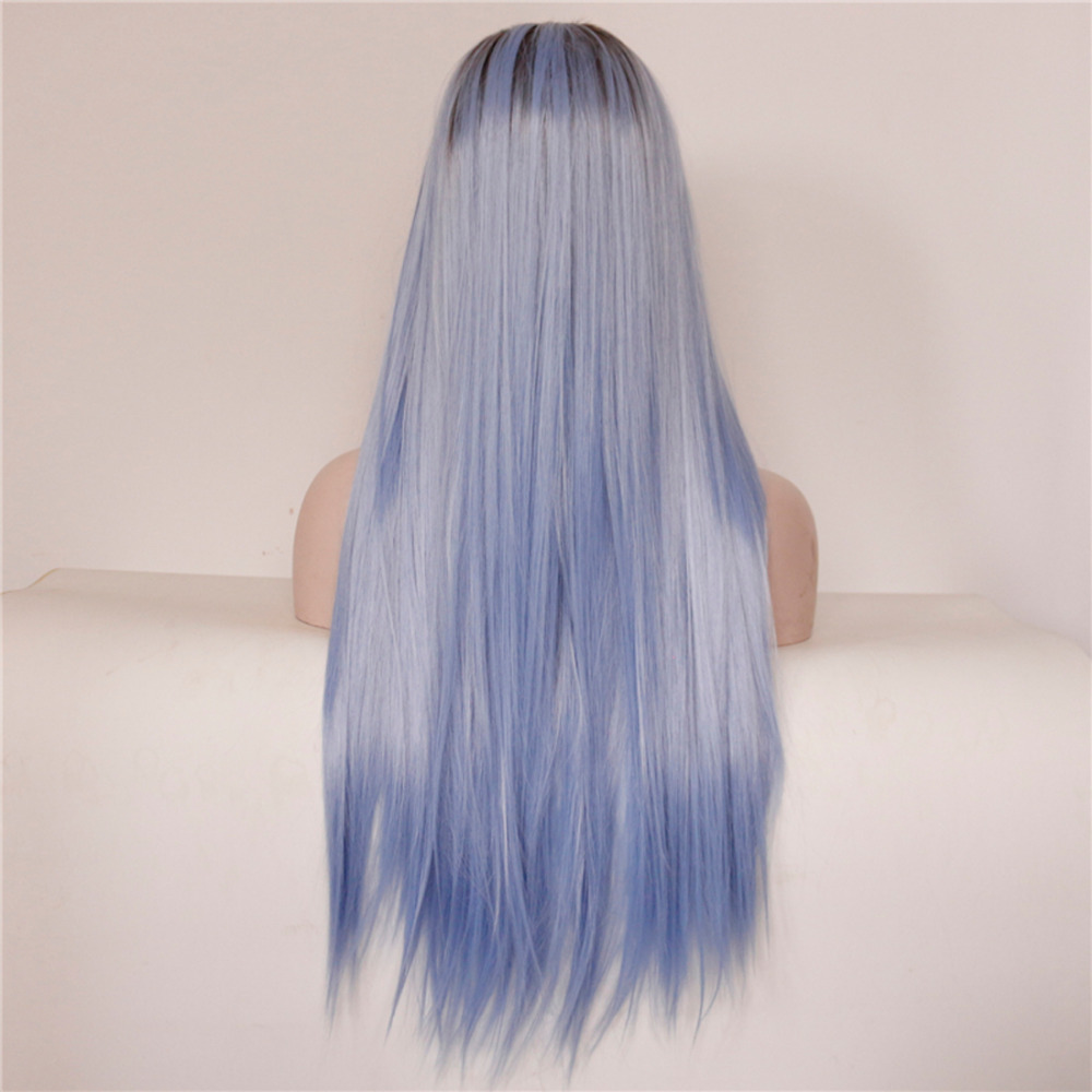 long straight ombre brown blue lace front wig