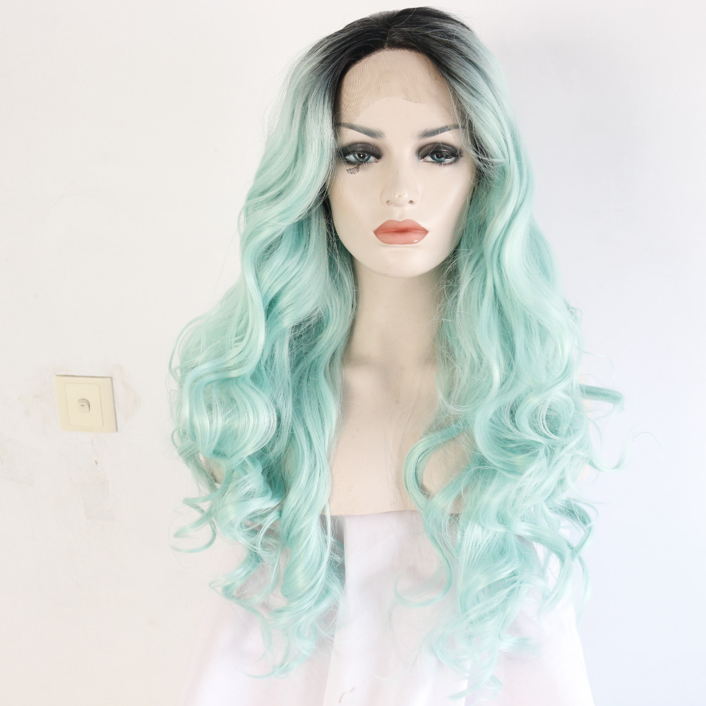 Long Wavy Dark Roots Mint Green Ombre Synthetic Lace Front Wigs