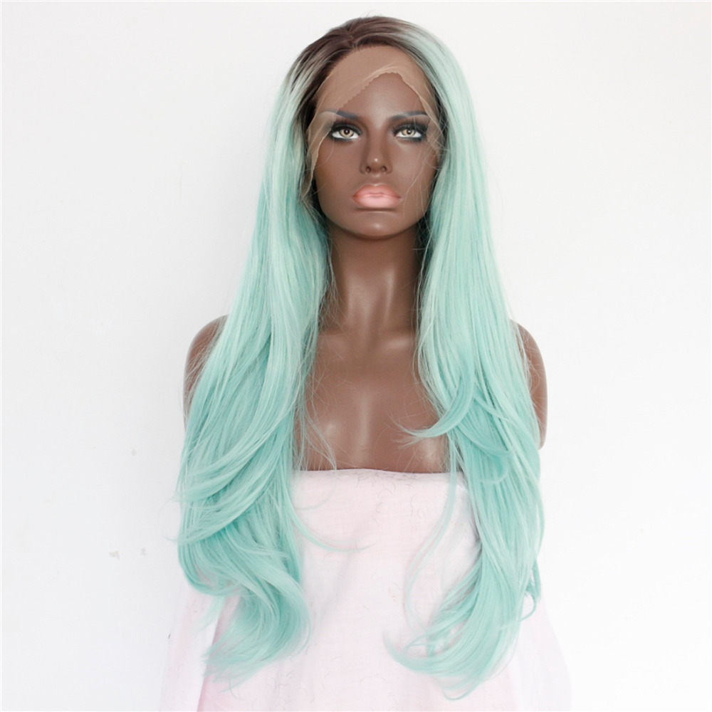 Long Wavy Ombre Mint Green Lace Front Wig