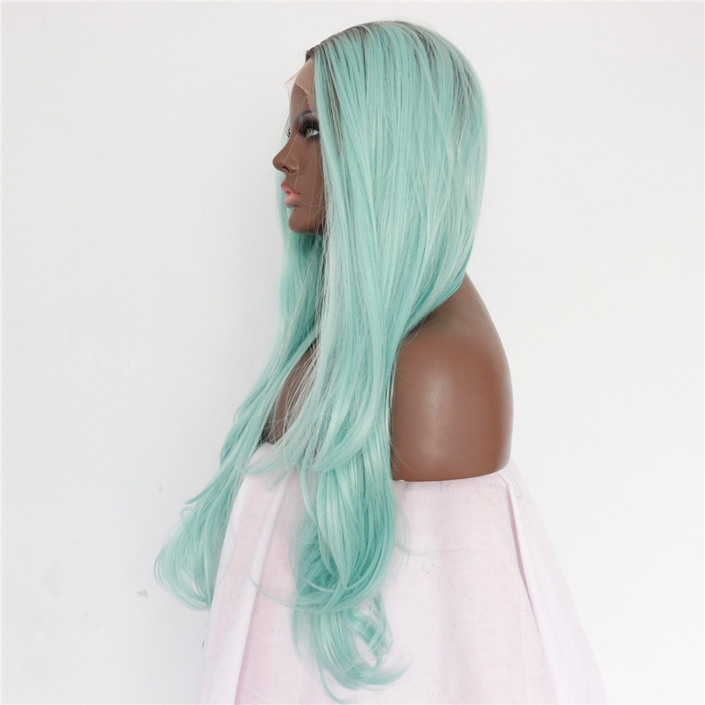 Long Wavy Ombre Mint Green Lace Front Wig 1