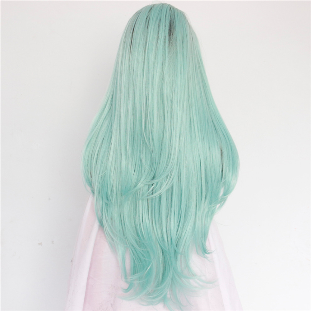 Long Wavy Ombre Mint Green Lace Front Wig 2
