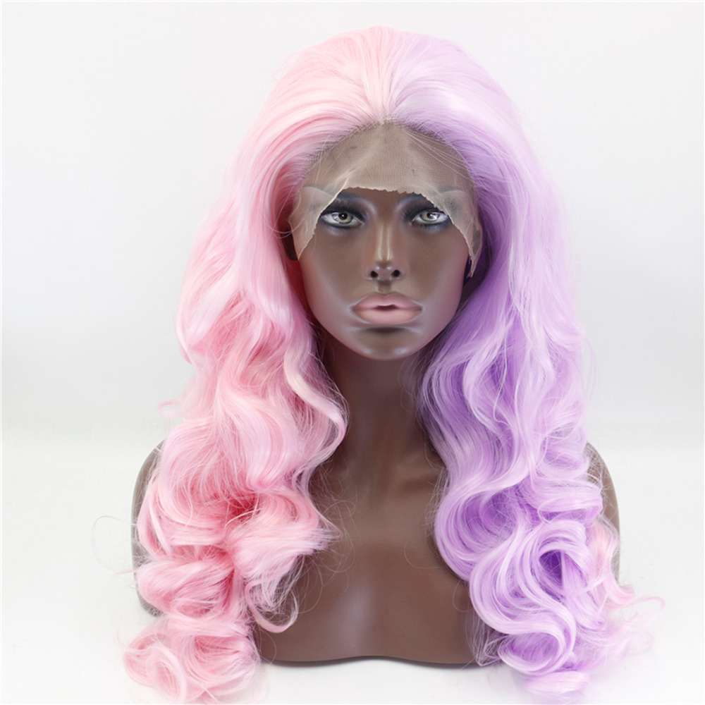 Long Wavy Purple With Pink Two Tones Synthetic Lace Front Wig