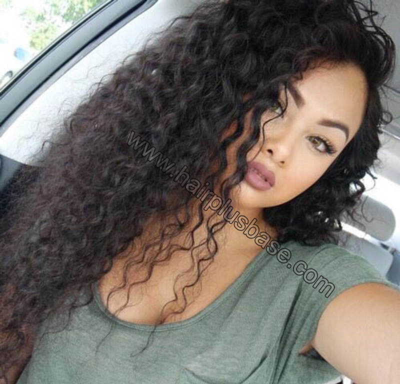 Loose Curly Silk Base 4*4 Lace Front Wigs Indian Human Hair