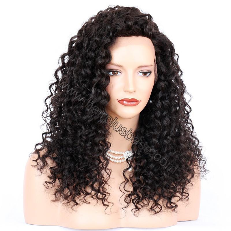 Loose Curly Silk Base 4*4 Lace Front Wigs Indian Human Hair 1