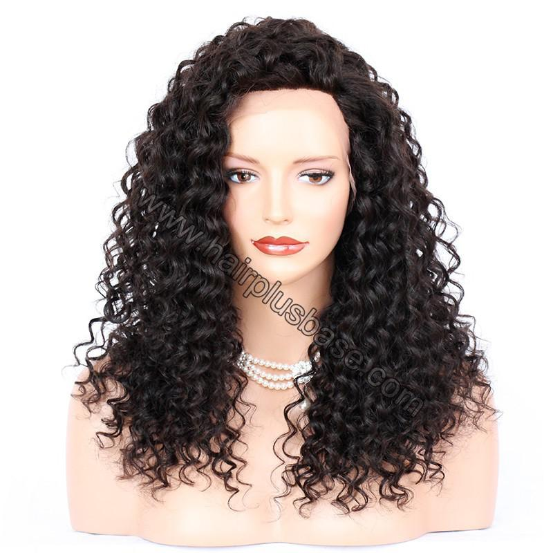 Loose Curly Silk Base 4*4 Lace Front Wigs Indian Human Hair 4