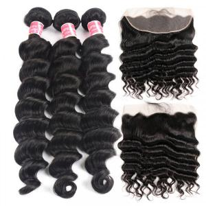 Loose Deep 3 Bundles With Frontal Cheap Human Hair Weaves Virgin Hair