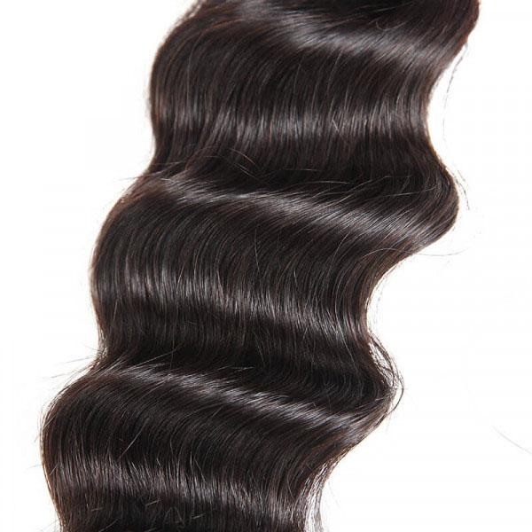 Loose Deep Wave Brazilian Hair 4 Bundles with 4×4 Lace Closures 5