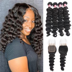 Loose Deep Wave Brazilian Hair 4 Bundles with 4×4 Lace Closures