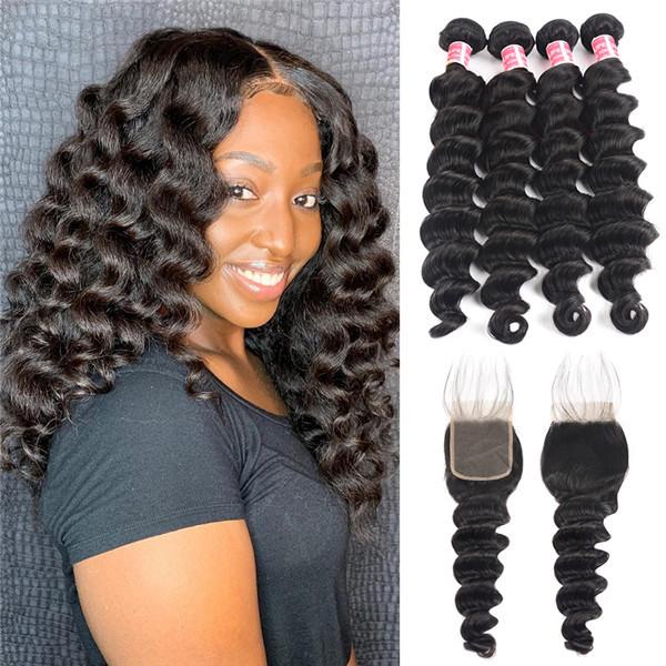 Loose Deep Wave Brazilian Hair 4 Bundles with 4×4 Lace Closures 9