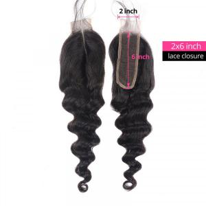 Loose Deep Wave Hair 2x6 Inch Pre-Plucked Lace Closure Human Hair Closure