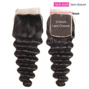 Loose Deep Wave Hair 5x5 inch Free Part Lace Closure New Type Deeper Parting Space Closure