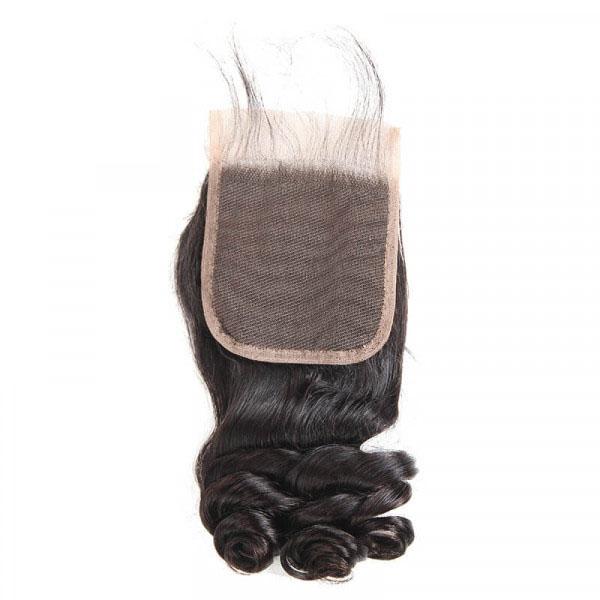 Loose Wave Brazilian Hair 3 Bundles with 4×4 Lace Closures 5