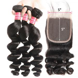 Loose Wave Human Hair Weft With 5*5 Pre-Plucked Closure No Shedding No Tangle