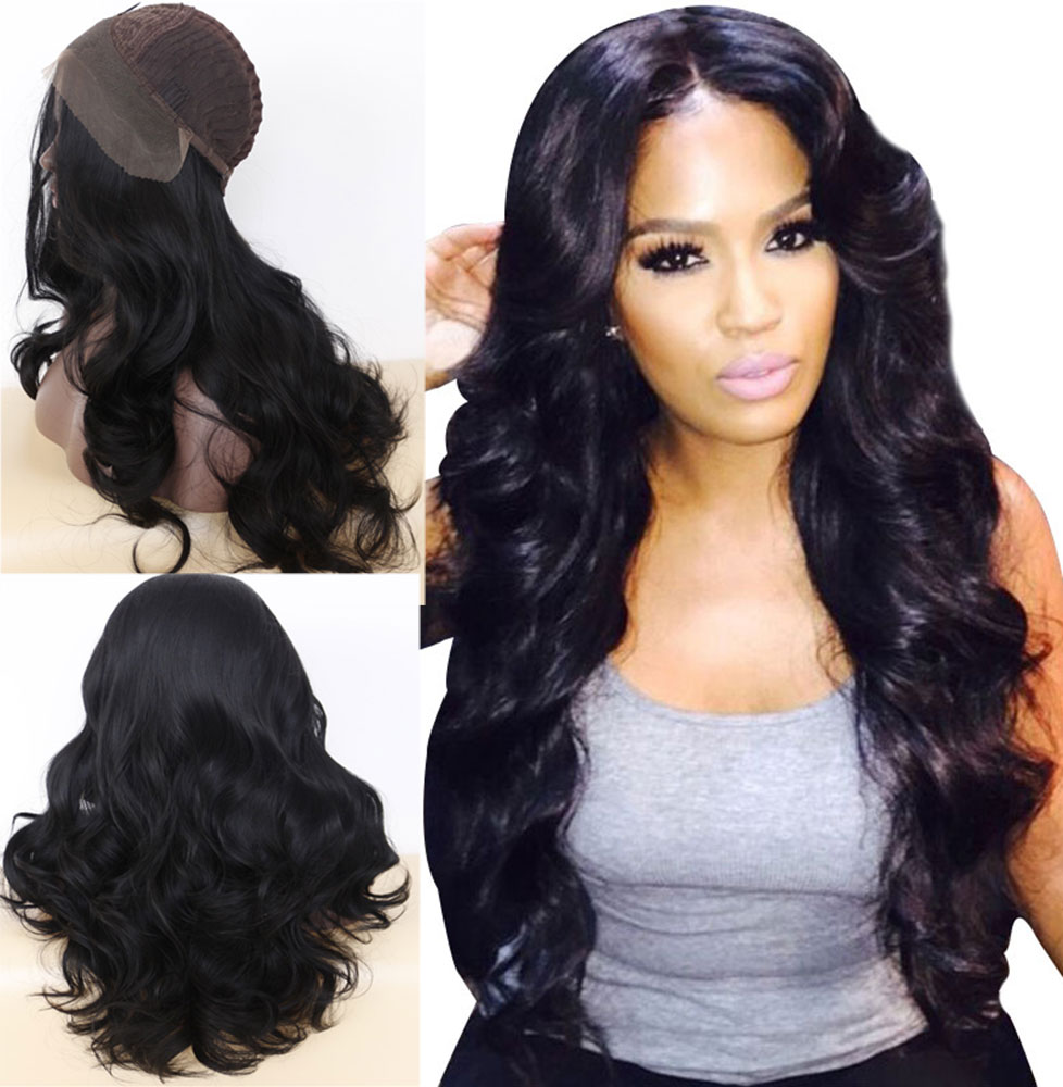 Luxurious Long Wavy Black Synthetic Lace Front Wigs 0