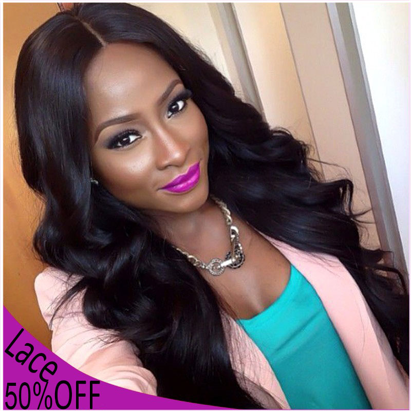 Luxurious Long Wavy Black Synthetic Lace Front Wigs 1