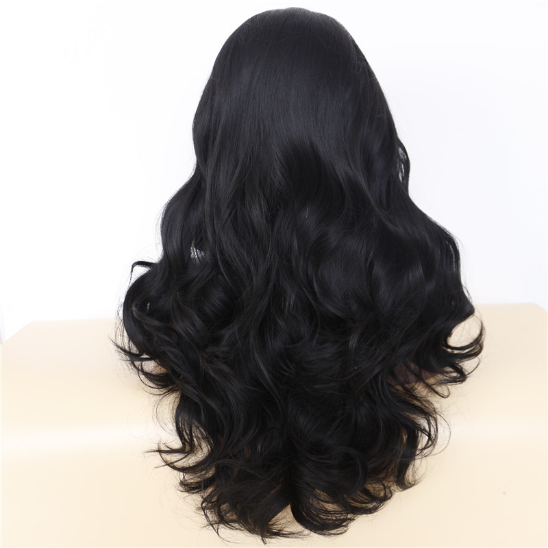 Luxurious Long Wavy Black Synthetic Lace Front Wigs 2