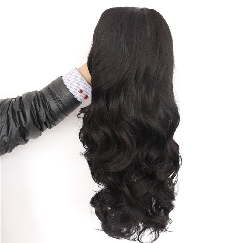 Luxurious Long Wavy Black Synthetic Lace Front Wigs 3