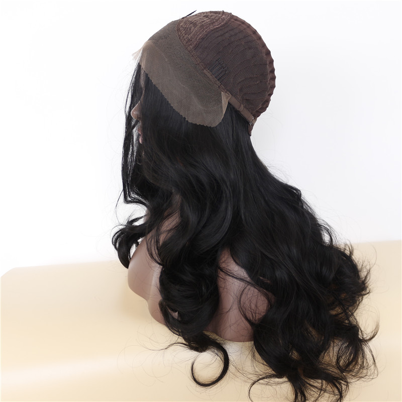 Luxurious Long Wavy Black Synthetic Lace Front Wigs 4
