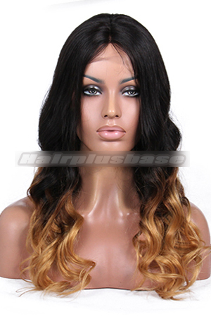 Luxury Brazilian Virgin Hair Black To Blonde Ombre Wavy 160% Thick Density Celebrity Lace Wigs