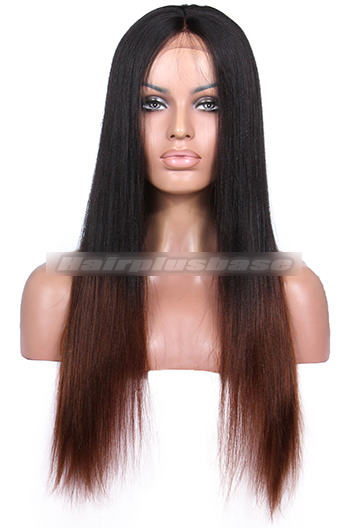 Luxury Coarse Yaki Black To Brown Ombre Brazilian Virgin Hair Celebrity Lace Wigs