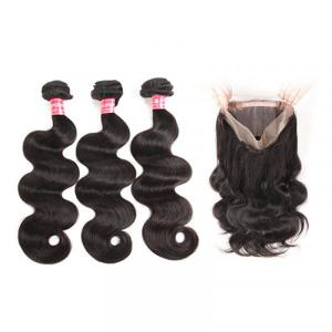 Malaysian Body Wave Bundles With Pre Plucked 360 Lace Frontal Closure